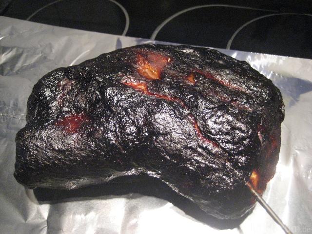 Pulled Pork Bei 90° Vor Dem Einwickeln In Jehova