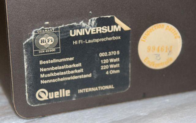 Typenschild Universum Topas 220 Watt