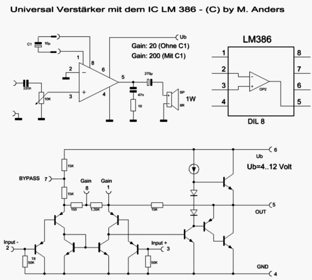 Verstärkerschaltung mit IC LM386, Elektronik - HIFI-FORUM