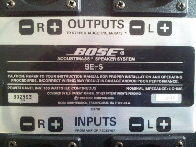 Bose Acoustic Mass SE-5 Speaker System