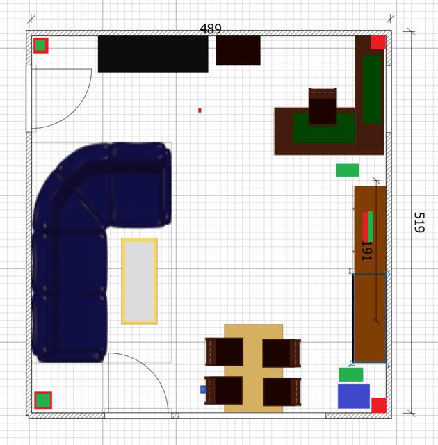 Grundriss + Einrichtung (in Cm)