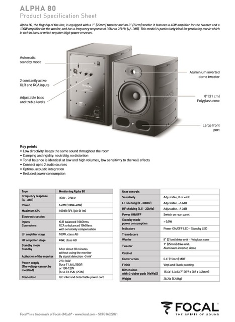Data Sheet FOCAL KRX2 & FOCAL Alpha 80