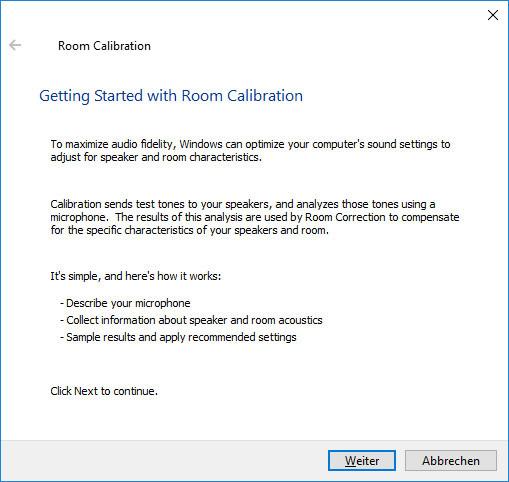 Windows Raumkorrektur