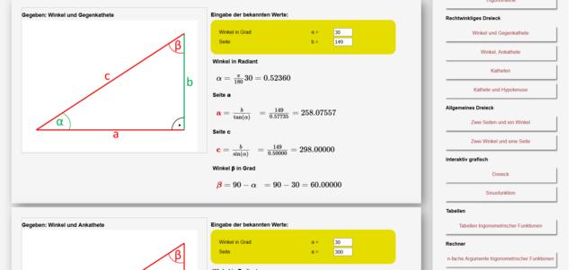 Screenshot 2018 3 9 Online Rechner Trigonometrie Online Berechnungen Am Rechtwinkligen  Und Am Allge