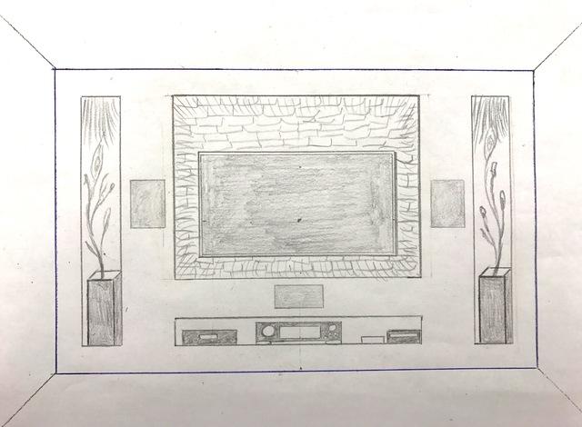 Zeichnung TV Wand