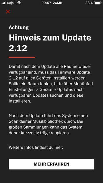 Hinweis Firmware Update 2.12