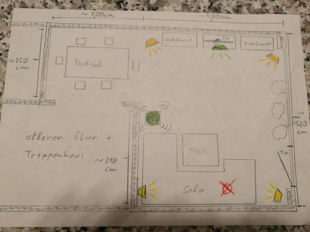 Wohnzimmer mit vorgesehener Aufstellung