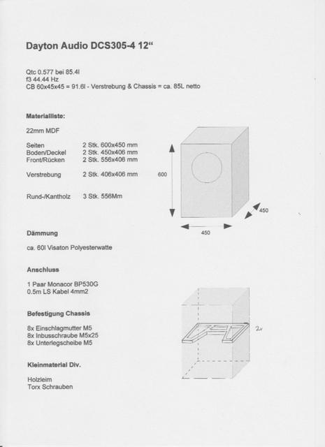 DCS305 Subwoofer Bauplan