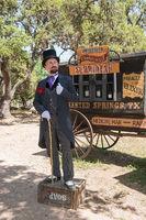Snake-oil_salesman_Professor_Thaddeus_Schmidlap_at_Enchanted_Springs_Ranch,_Boerne,_Texas,_USA_28650