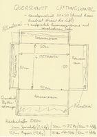 Querschnitt Lüftungskanal quadratisch mit 4 aufgesetzten Plattenschwingern