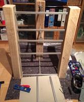 selbstbau rack aus altholzbalken und 10mm glas racks. Black Bedroom Furniture Sets. Home Design Ideas