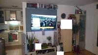 Wohnzimmer. Blick von Couch auf FS