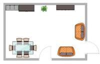 Skizze des Wohnzimmers